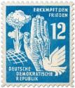 Stamp: Atompilz, Hand und Taube