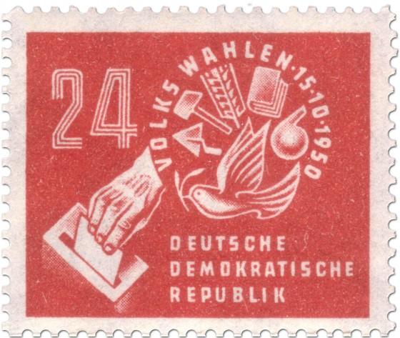 Stamp: Briefmarke zur DDR-Volkswahl 1950