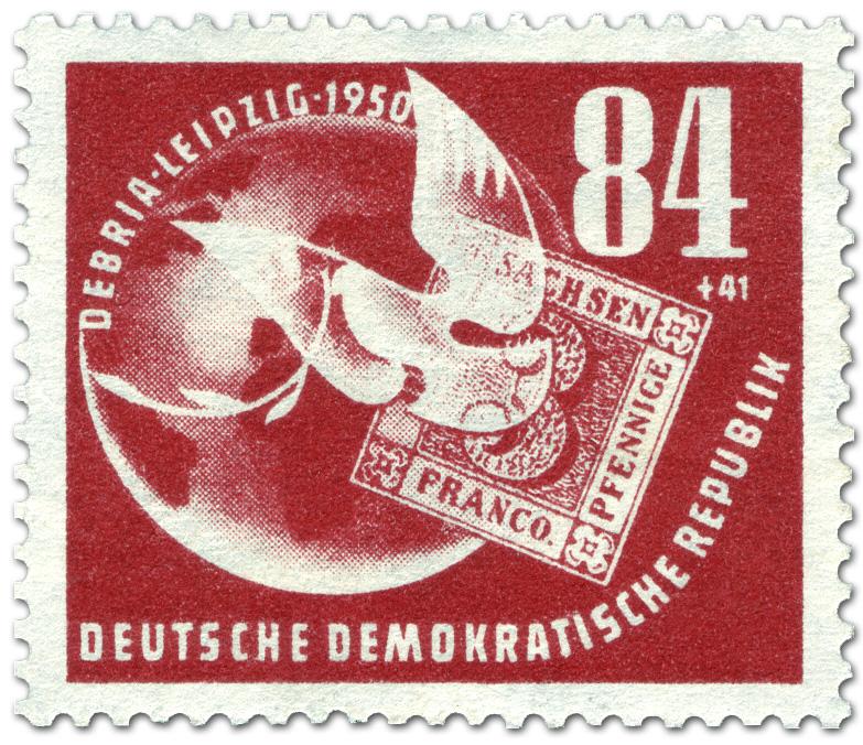 Briefmarke Taube Sachsen Dreier Debria German Stamp 1950