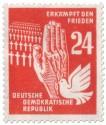 Stamp: Soldatenfriedhof, Taube und Hand
