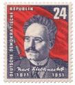Stamp: 80. Geburtstag von Karl Liebknecht (Sozialist)